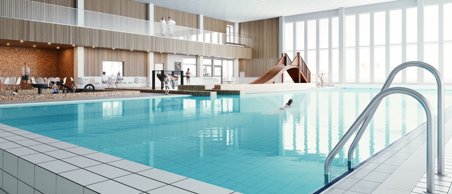 Illustration på del av nya badhuset med pool.